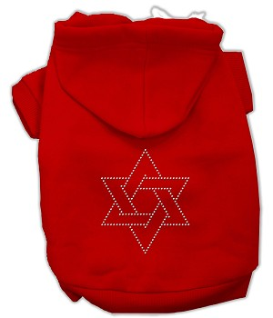 Star of David Rhinestone Hoodie Red XXL (18)